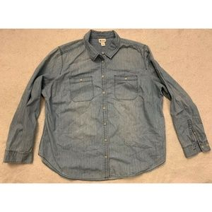 Stylus Womens Denim Shirt Light Blue Size 2X